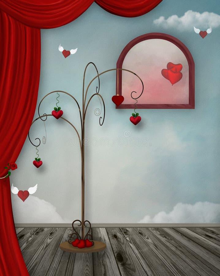 Fundo do dia de Valentim com corações surreais ilustração do vetor
