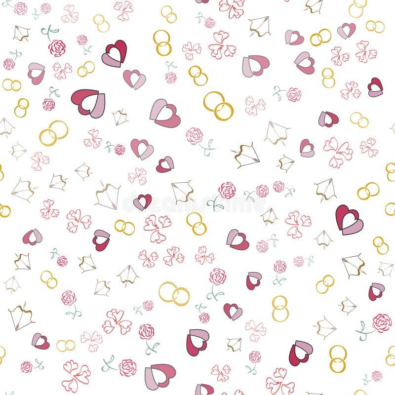 Fundo do dia de Valentim com corações, alianças de casamento, rosas ilustração stock