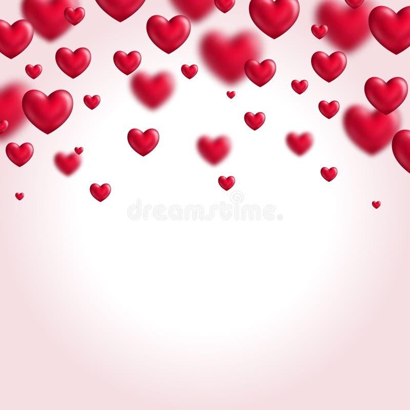 Fundo do dia de Valentim com corações do voo ilustração do vetor