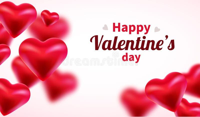 Fundo do dia de Valentim com cora??es 3d vermelhos Bandeira bonito ou cart?o do amor Lugar para o texto Dia feliz dos Valentim ilustração royalty free