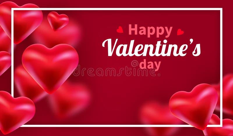 Fundo do dia de Valentim com cora??es 3d vermelhos Bandeira bonito ou cart?o do amor Lugar para o texto Dia feliz dos Valentim ilustração stock