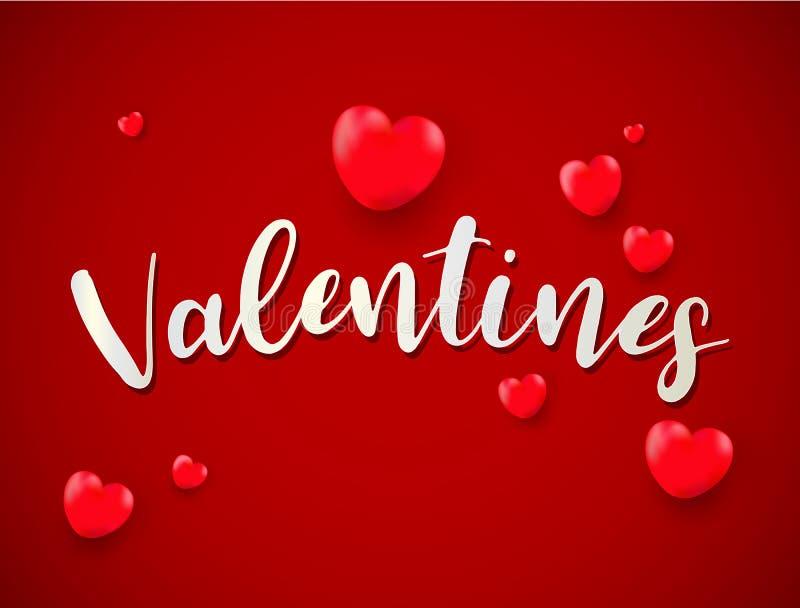 Fundo do dia de Valentim com Valentim dos balões; amor; golde ilustração royalty free