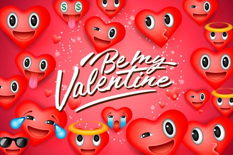 Fundo do dia de Valentim com emoticons do coração, caras do smiley do emoji, ilustração do vetor Papel de parede, insetos, cartão ilustração stock