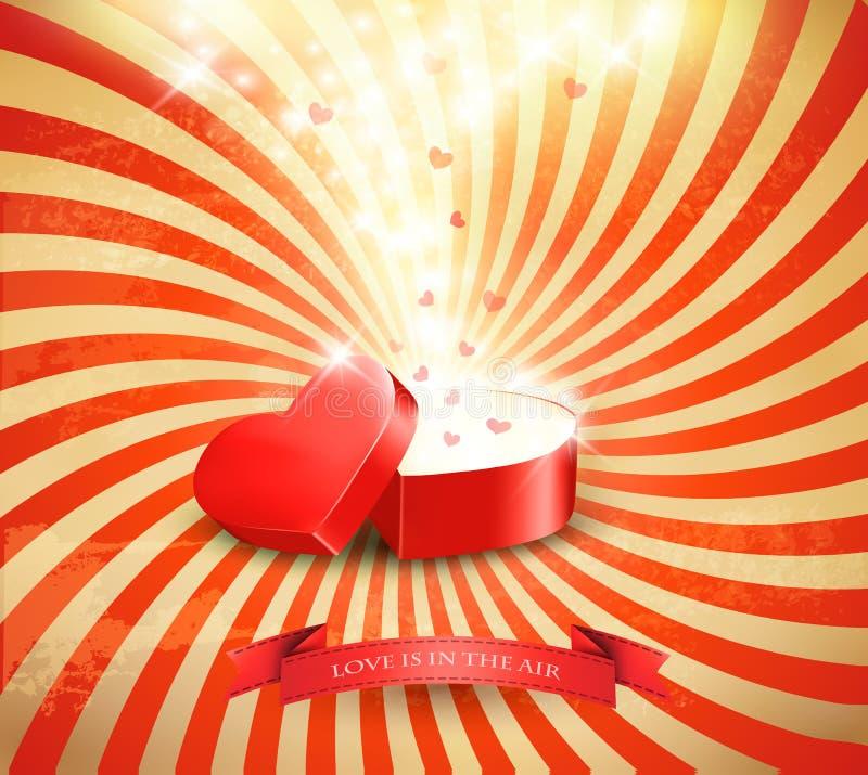 Fundo do dia de Valentim com uma caixa de presente vermelha aberta ilustração stock