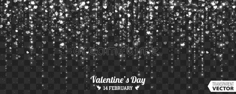 Fundo do dia de Valentim da queda vermelha dos corações Elemento para cartões Efeito transparente do vetor ilustração stock