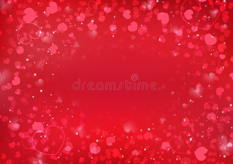 Fundo do dia de Valentim, decoração obscura de incandescência dos confetes do coração da ilustração do sumário do vetor do amor ilustração royalty free