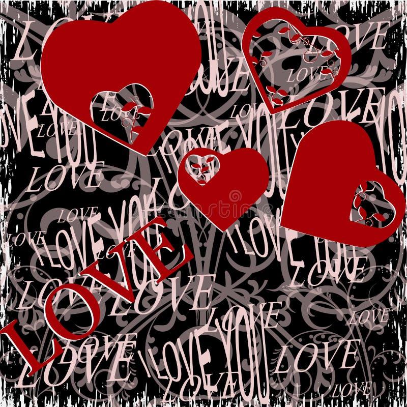 Fundo do dia de Valentim do Grunge com corações ilustração royalty free