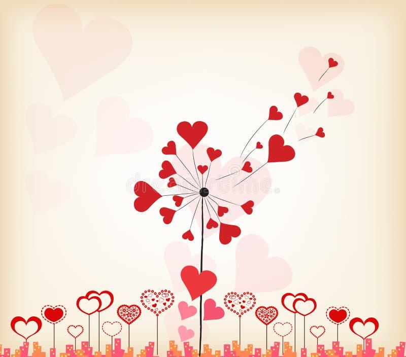 Fundo do dia de Valentim dos corações dos dentes-de-leão ilustração royalty free