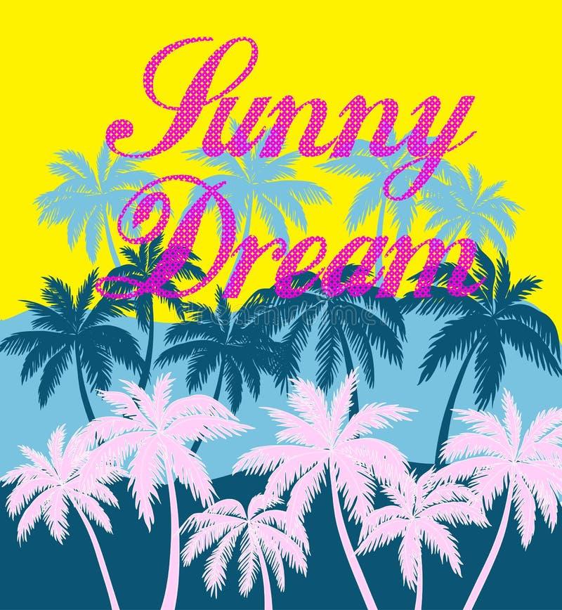 Fundo do dia de verão com palmeira Minimalistic multifunction ilustração do vetor