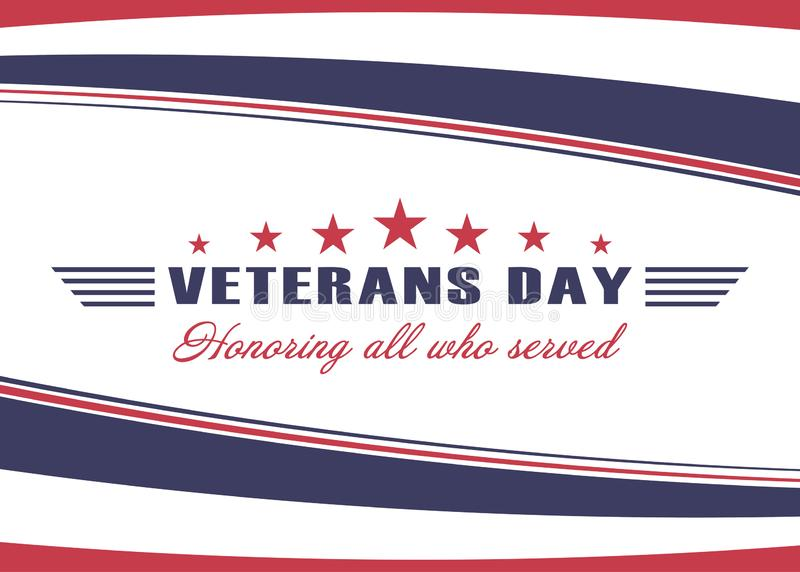Fundo do dia de veteranos Molde para o projeto do dia de veteranos dos E.U. Honrando tudo que serviu Vetor ilustração royalty free