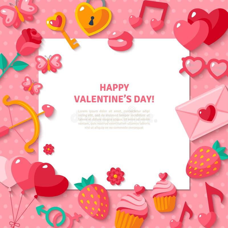 Fundo do dia do Valentim Valentine Icons liso ilustração do vetor