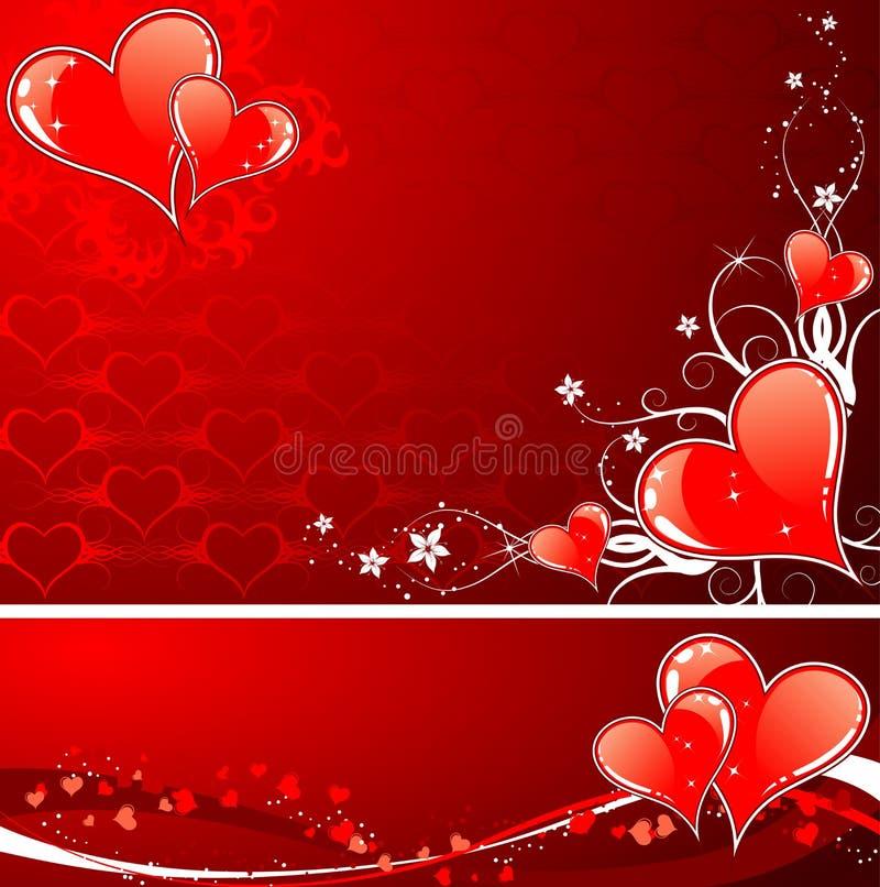 Fundo do dia dos Valentim com corações e florals ilustração do vetor