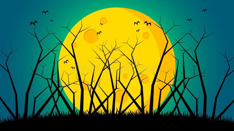Fundo do dia do ` s de Dia das Bruxas - árvores na parte dianteira à terra a lua fotografia de stock royalty free