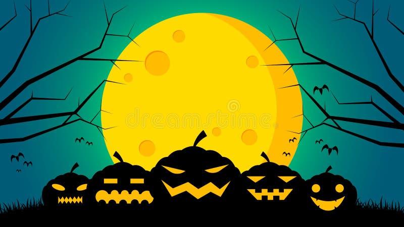 Fundo do dia do ` s de Dia das Bruxas - abóboras na parte dianteira à terra a lua ilustração stock