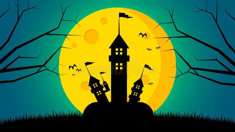 Fundo do dia do ` s de Dia das Bruxas - fortifique na parte dianteira à terra a lua ilustração do vetor