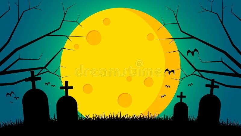 Fundo do dia do ` s de Dia das Bruxas - túmulo na parte dianteira à terra a lua ilustração stock
