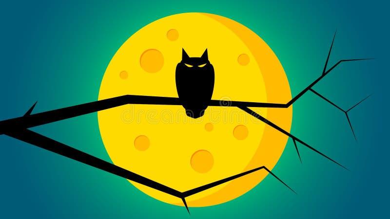 Fundo do dia do ` s de Dia das Bruxas - uma coruja na parte dianteira da vara a lua ilustração royalty free