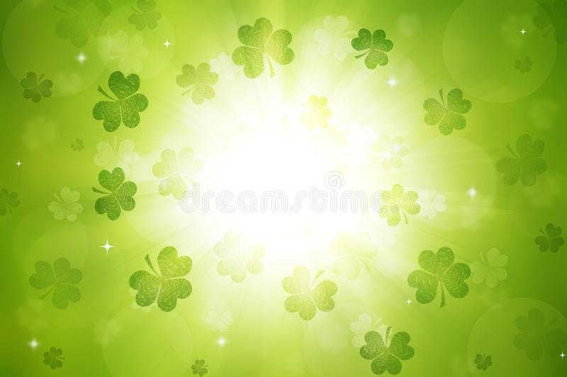 Fundo do dia do ` s de St Patrick do trevo fotografia de stock
