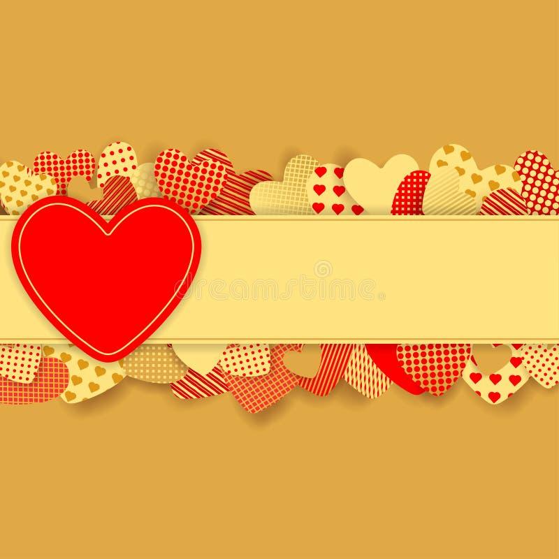 Fundo do dia do ` s do Valentim Corações de papel vermelhos e do ouro ilustração royalty free