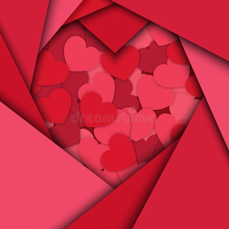 Fundo do dia do ` s do Valentim Silhuetas do coração ilustração do vetor