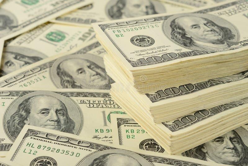 Fundo do dinheiro da cédula do dólar fotografia de stock