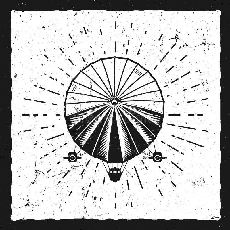Fundo do dirigível do vintage Molde retro do cartaz do grunge do balão de Dirigible Projeto de Steampunk Esboço velho punk do vap ilustração do vetor