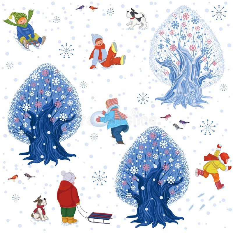 Fundo do divertimento do inverno ilustração do vetor