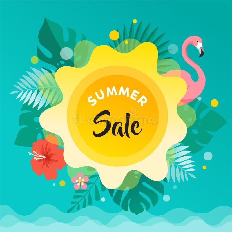 Fundo do divertimento do verão, sol, folhas e ilustração do flamingo e projeto da bandeira Cartaz da venda ilustração stock