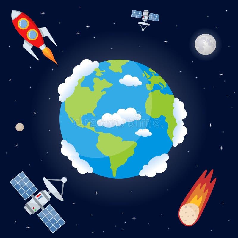 Fundo do espaço com terra do planeta ilustração royalty free