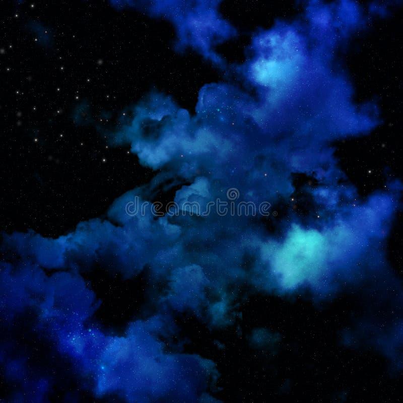 fundo do espaço 3D com céu da nebulosa ilustração do vetor