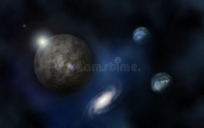fundo do espaço 3D com planetas imaginários ilustração do vetor