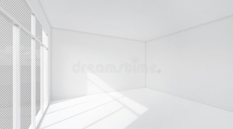 Fundo do espaço da sala branca rendição 3d ilustração do vetor