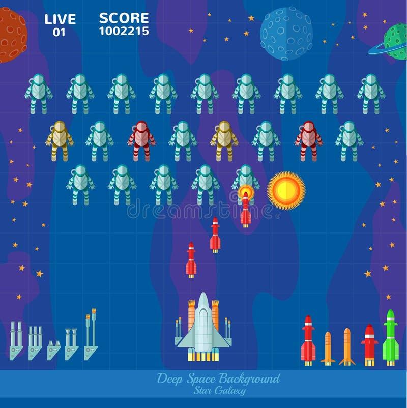 Fundo do espaço do jogo Tiro da nave espacial ilustração do vetor