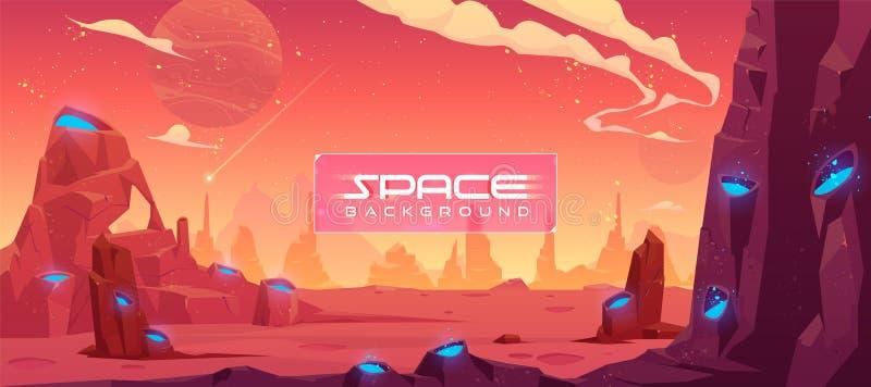 Fundo do espaço, paisagem estrangeira do planeta da fantasia ilustração stock