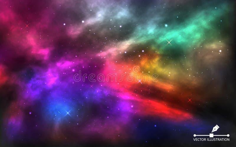 Fundo do espa?o Cosmos colorido realístico Via Látea brilhante para a bandeira, propaganda, cartaz Cosmos com stardust e ilustração do vetor