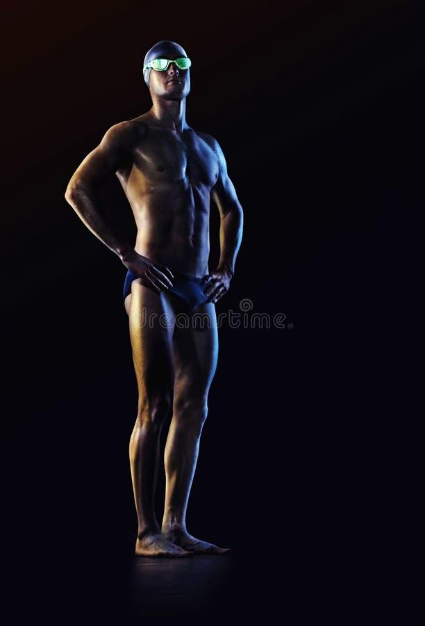 Fundo do esporte Nadador com vidros fotografia de stock