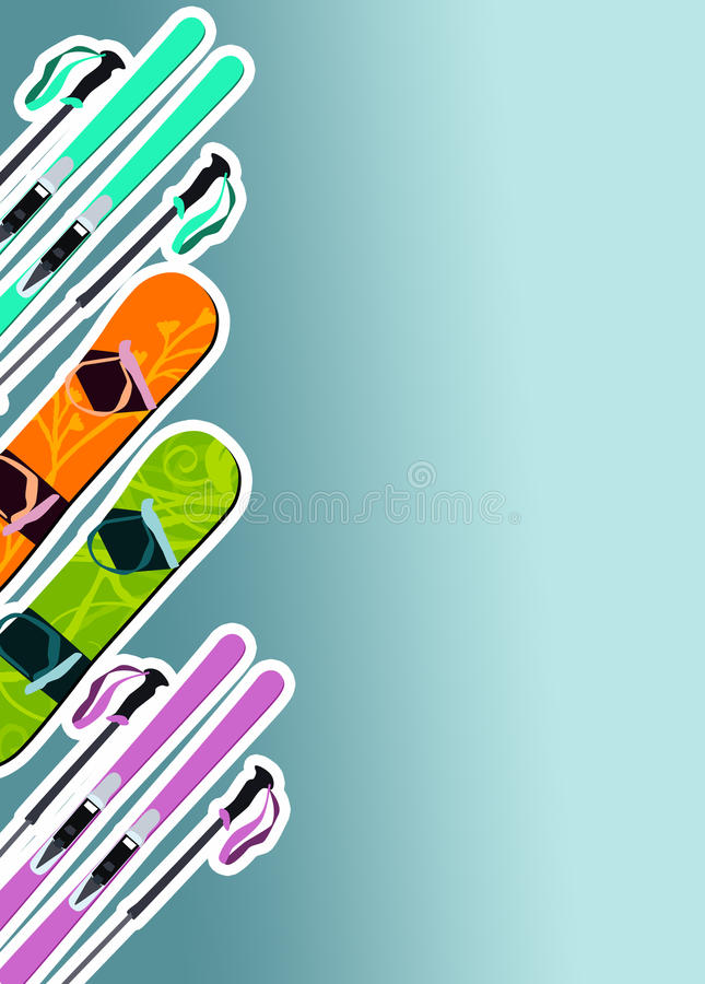 Fundo do esqui e do snowboard ilustração do vetor