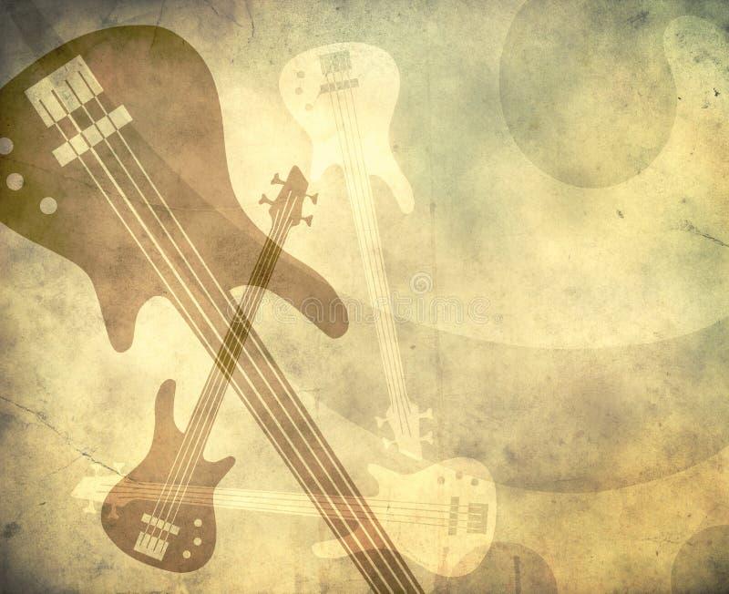 Fundo do estilo de Grunge com guitarra ilustração do vetor