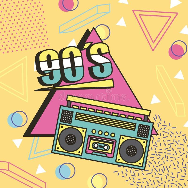 Fundo do estilo de memphis da música do gravador 90s ilustração royalty free