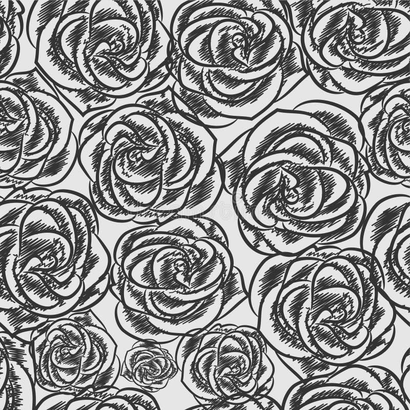 Fundo do estilo do esboço de Rosa ilustração do vetor