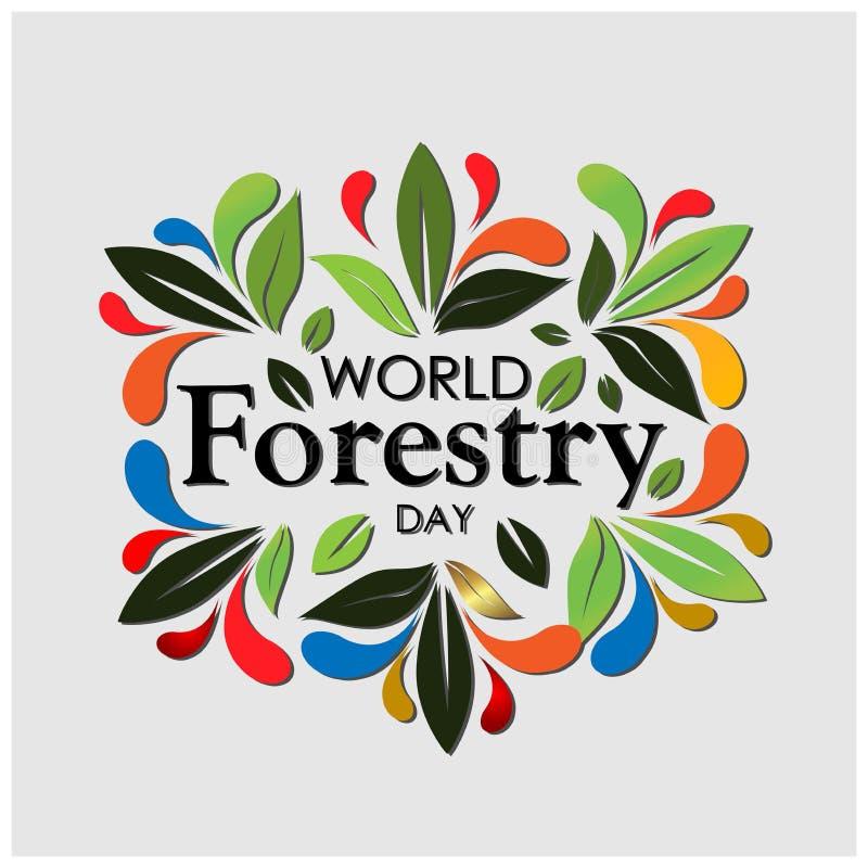 Fundo do estoque do dia da silvicultura do mundo com folhas coloridas Ilustração do vetor - O arquivo do vetor ilustração do vetor