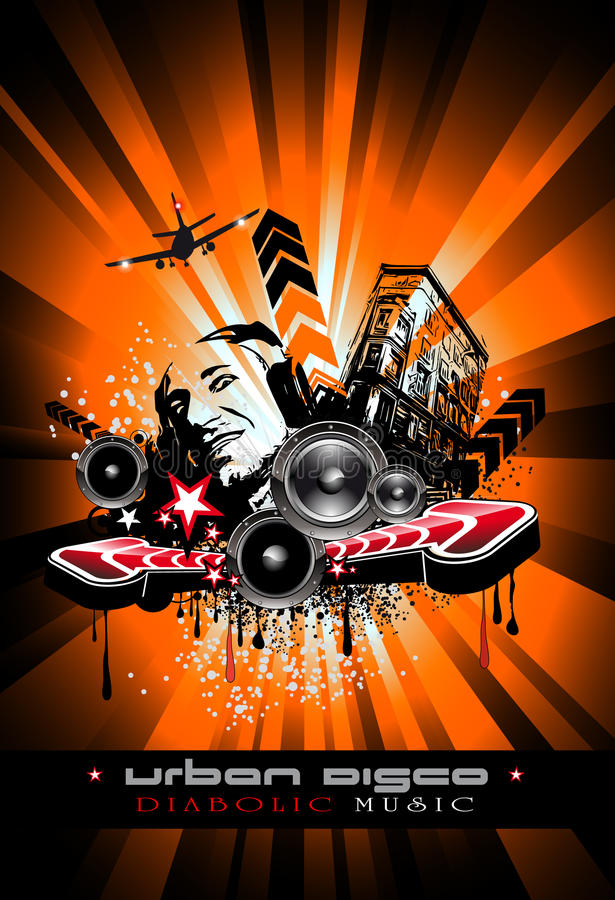Fundo do evento da música com DJ louco ilustração do vetor