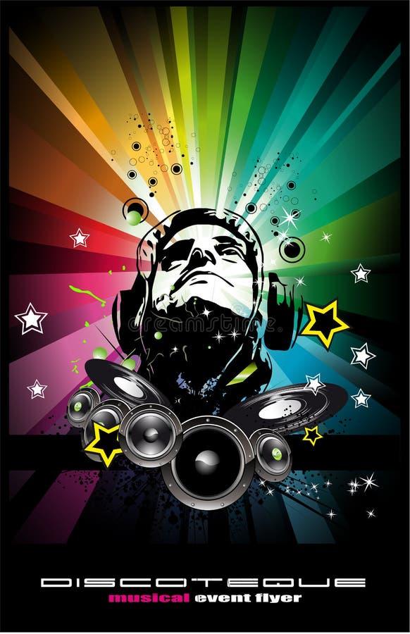 Fundo do evento da música com forma f do jóquei do disco ilustração royalty free