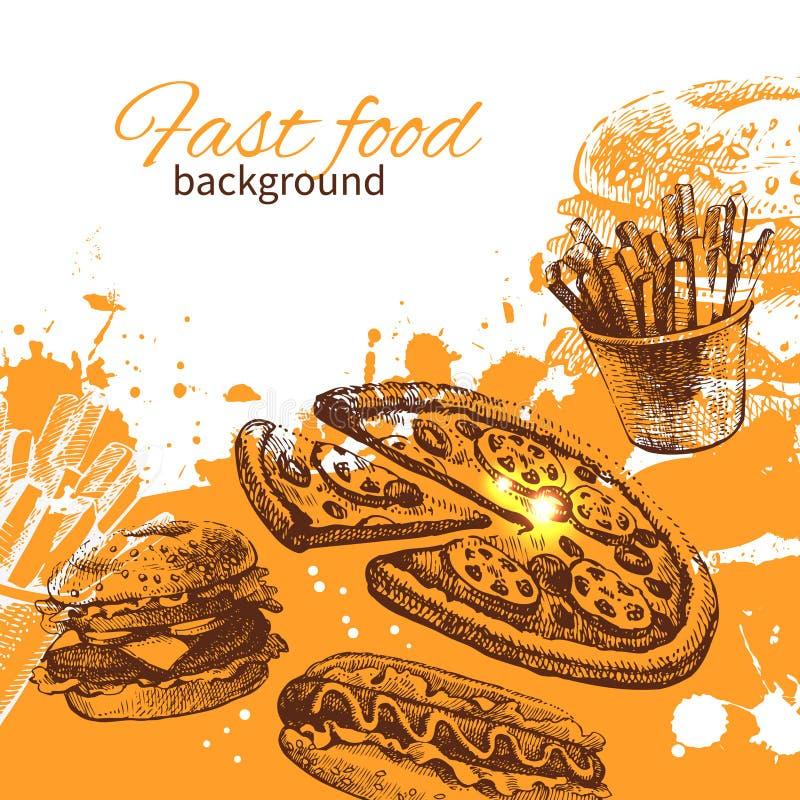 Fundo do fast food do vintage ilustração stock