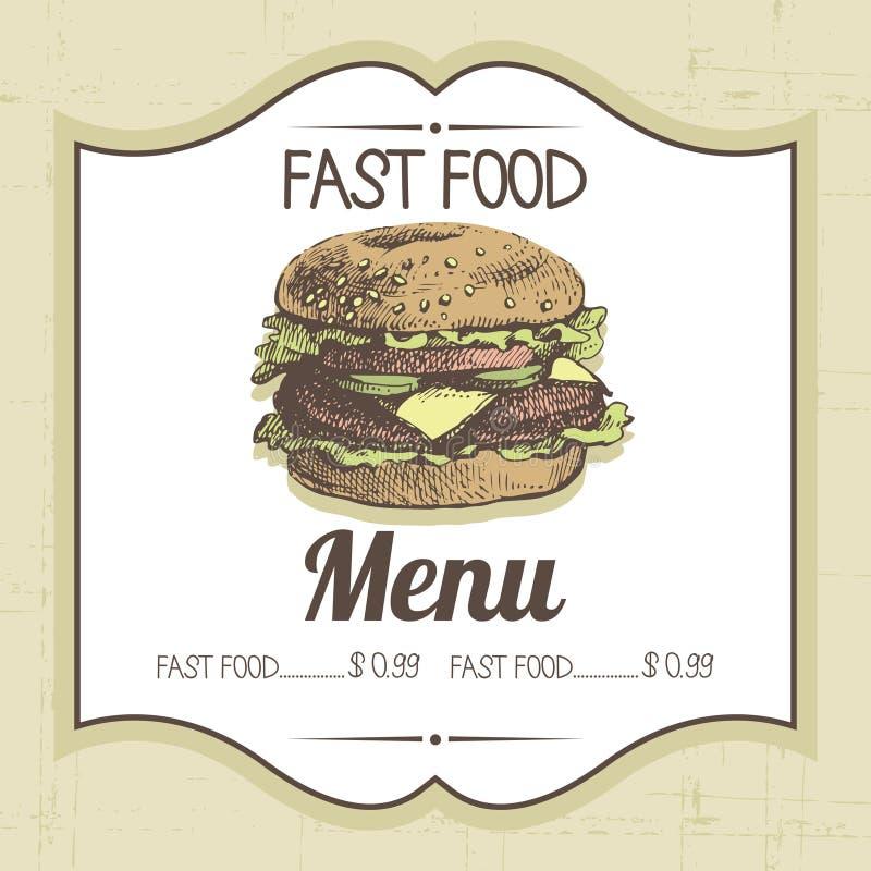 Fundo do fast food do vintage ilustração royalty free