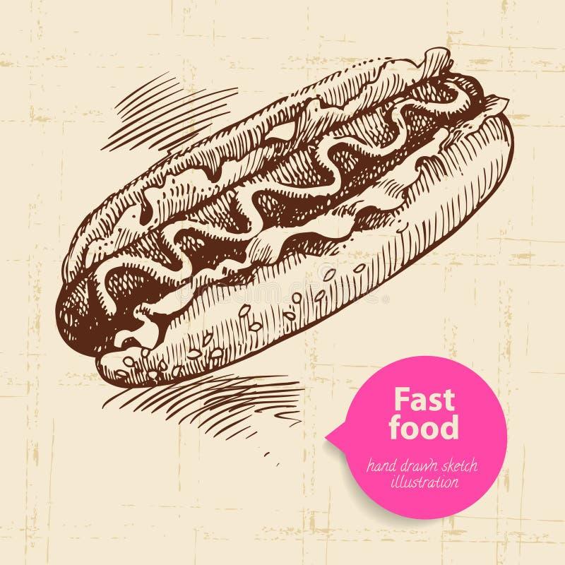 Fundo do fast food do vintage com bolha da cor ilustração do vetor