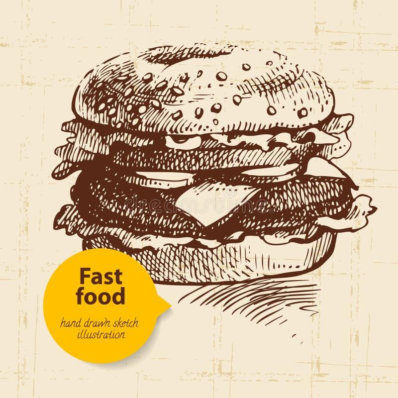 Fundo do fast food do vintage com bolha da cor ilustração stock