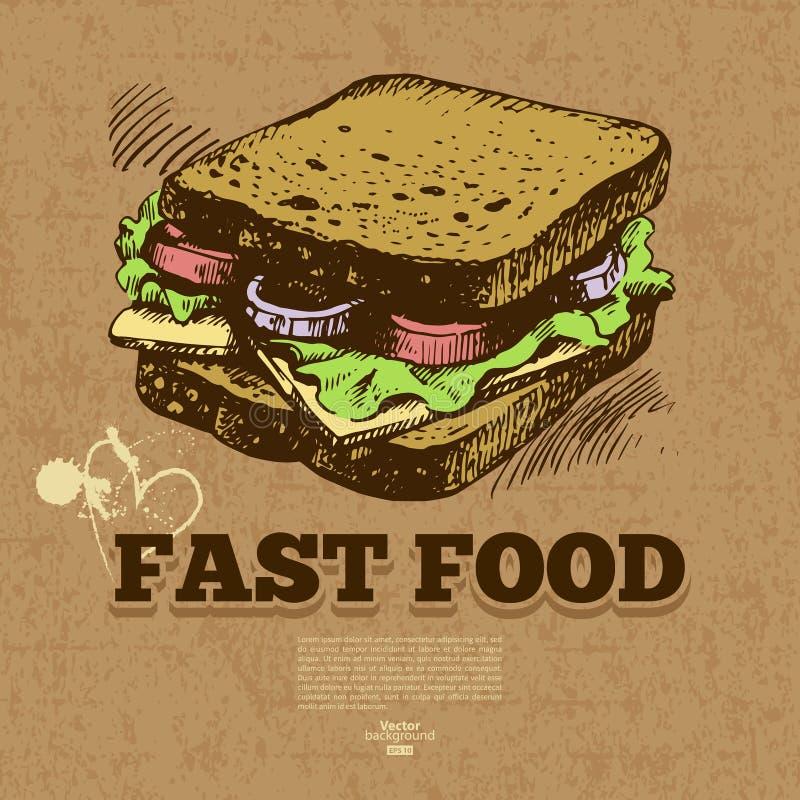 Fundo do fast food do vintage Mão desenhada ilustração royalty free