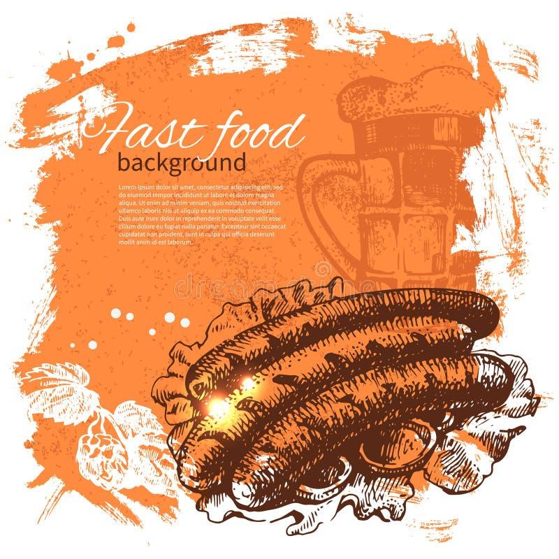Fundo do fast food do vintage Mão desenhada ilustração stock