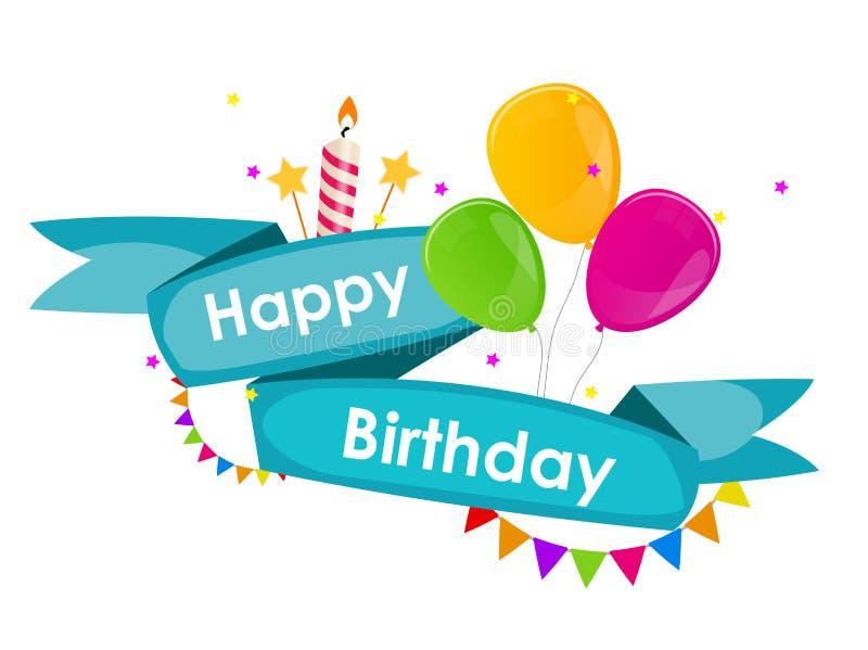 Fundo do feliz aniversario com fita, balões, bandeiras e Candl ilustração stock